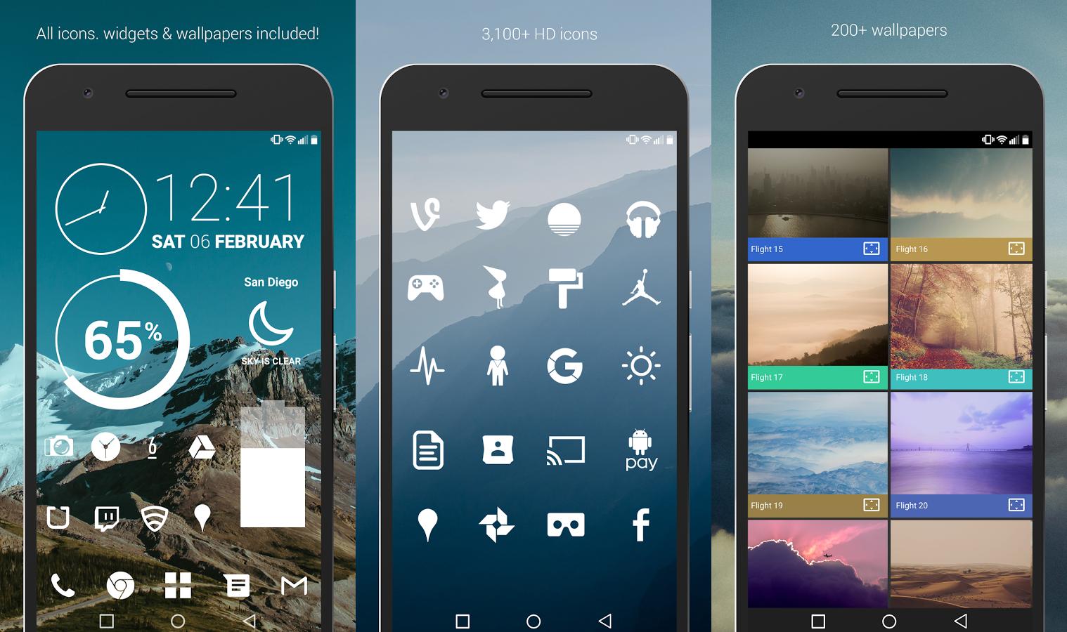 تطبيق Flight Icon Pack يُقدم لك حزم أيقونات تطبيقات بيضاء اللون