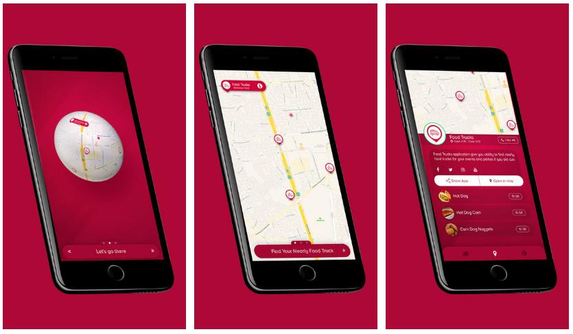 تطبيقفود تراكسخريطة يعرض لك عربات الطعام المتنقلة في مُحيطك