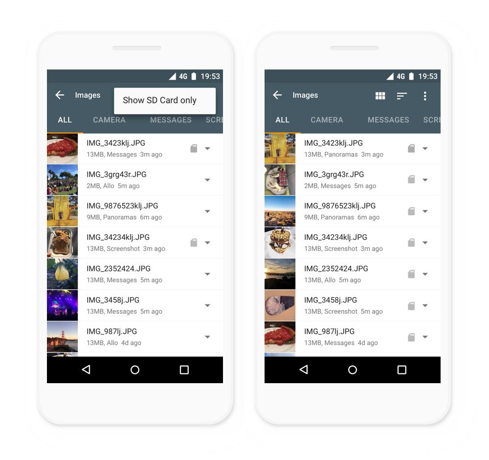 تطبيقFiles Go يدعم الآن أجهزة أندرويد اللوحية وبطاقات SD الخارجية