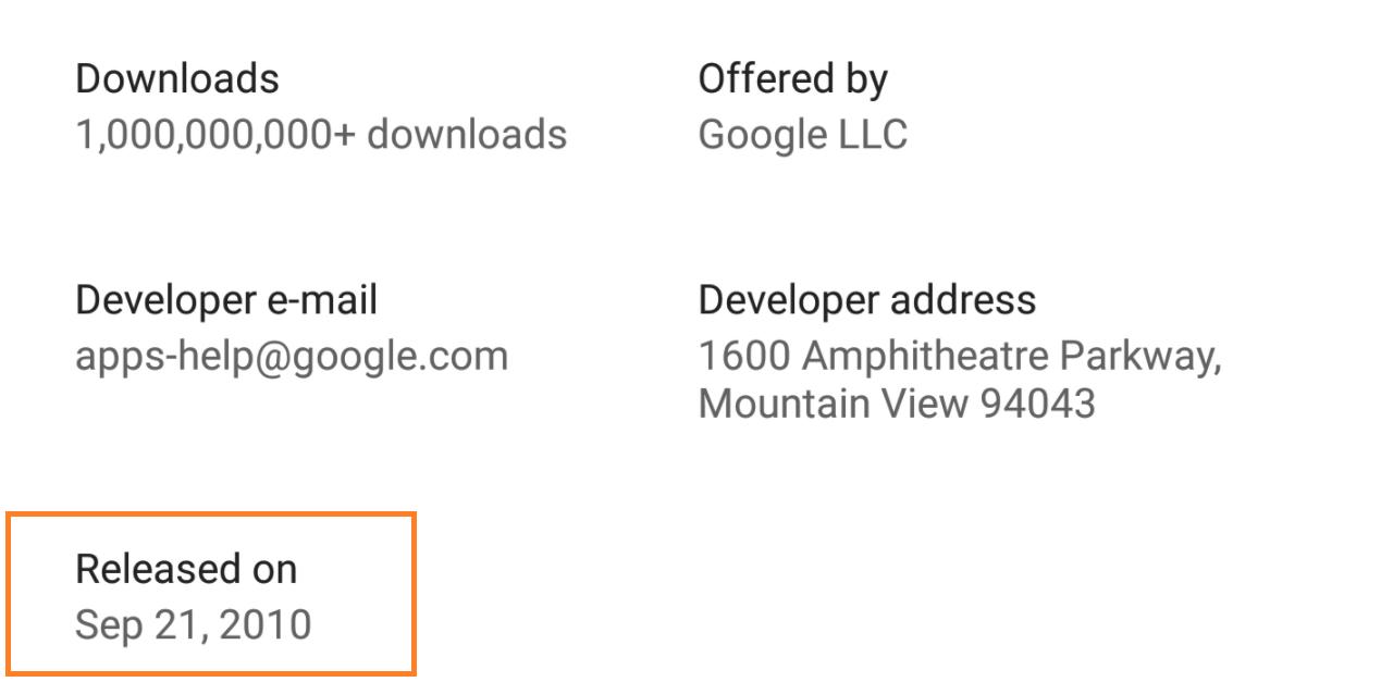 متجر قوقل بلاي يُظهِر الآن تاريخ إصدار التطبيقات لأول مرة
