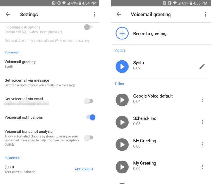 تحديث تطبيقGoogle Voice ليدعم الآن إدارة تحية البريد الصوتي