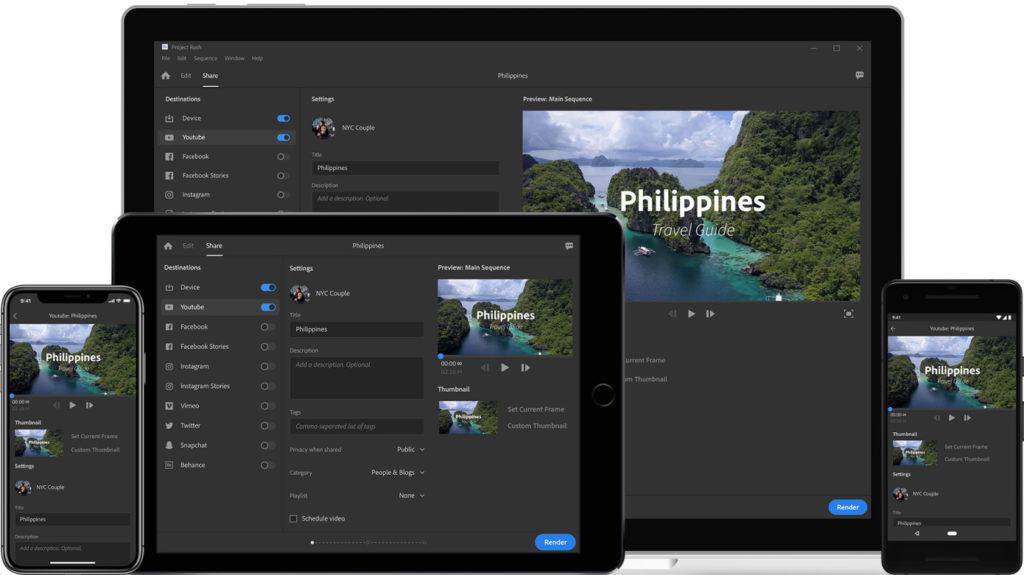 أدوبي تعلن عن Project Rush تطبيق تحرير الفيديو المتكامل