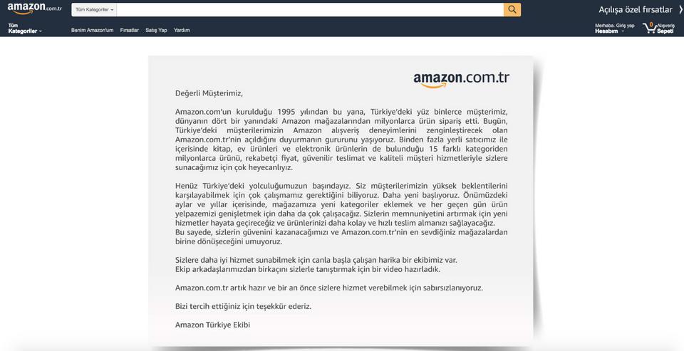 أمازون تبدأ خدماتها في تركيا وتطلق موقعها باللغة التركية
