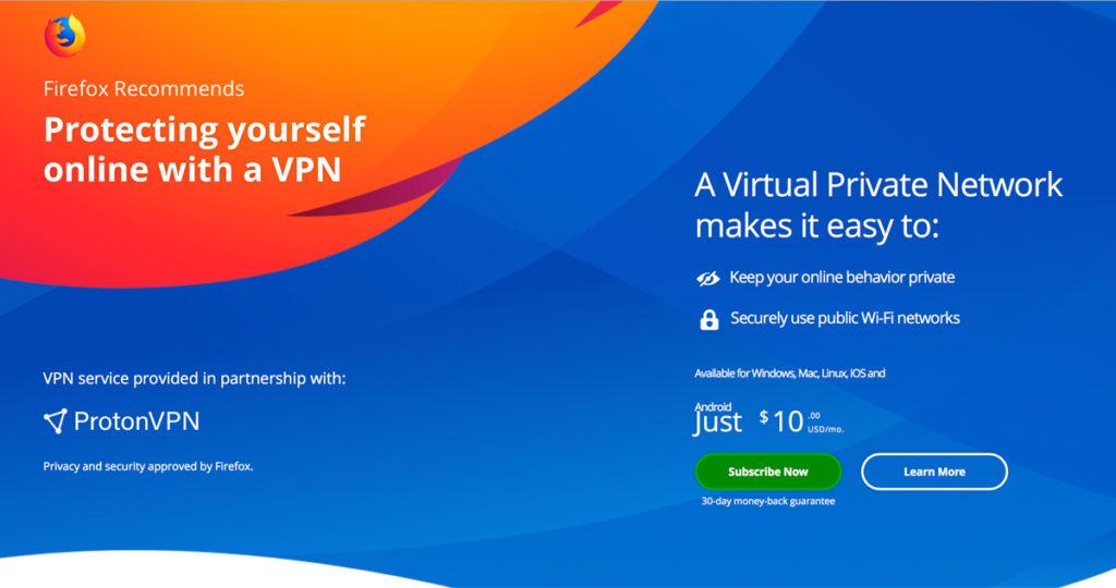 موزيلا تبدأ بيع اشتراكات ProtonVPN على متصفح فايرفوكس