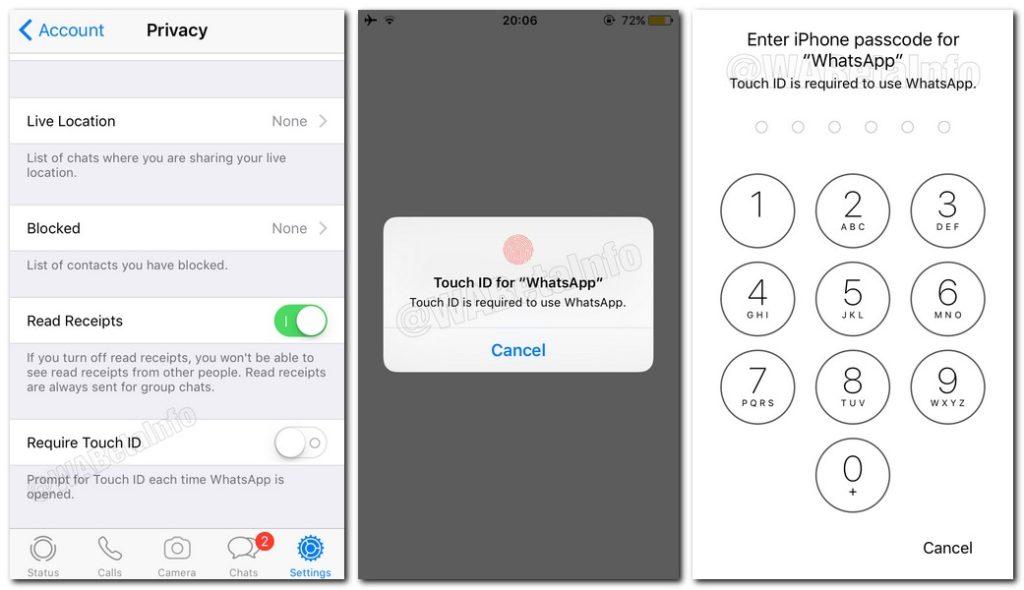 قريبًا واتساب سيدمج خيارات الأمانTouchID و FaceID على iOS