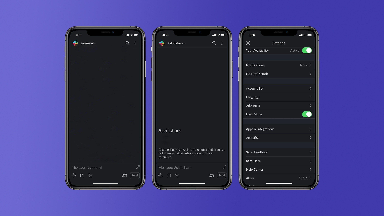 تطبيق Slack يختبر الوضع المُظلم على أندرويد و iOS