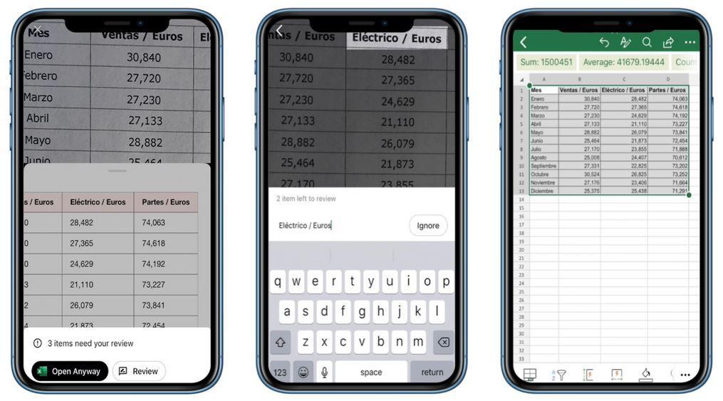 تطبيق Excel على آيفون يُتيح لك التقاط صورة لجدول بيانات واستيرادها