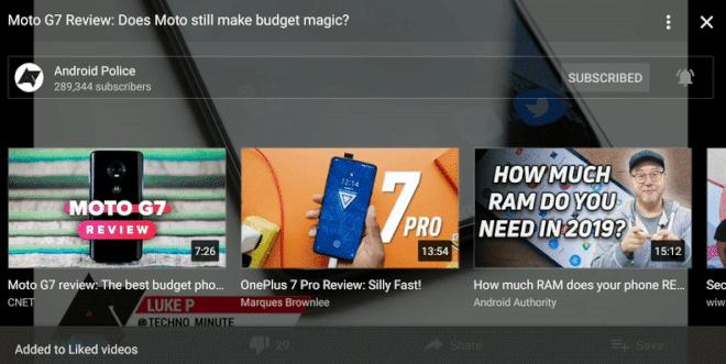 يوتيوب يدعم الآن الوصول السريع لإجراءات الفيديو والقنوات عند ملء الشاشة