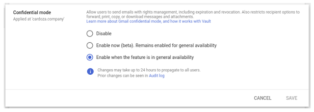 الوضع السري على جيميل سيتفعل افتراضيًا لمستخدمي حزمة G Suite
