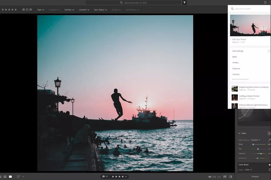 تطبيق أدوبي Lightroom يحصل علىبرامج تعليمية تُظهر عملية تحرير الصور
