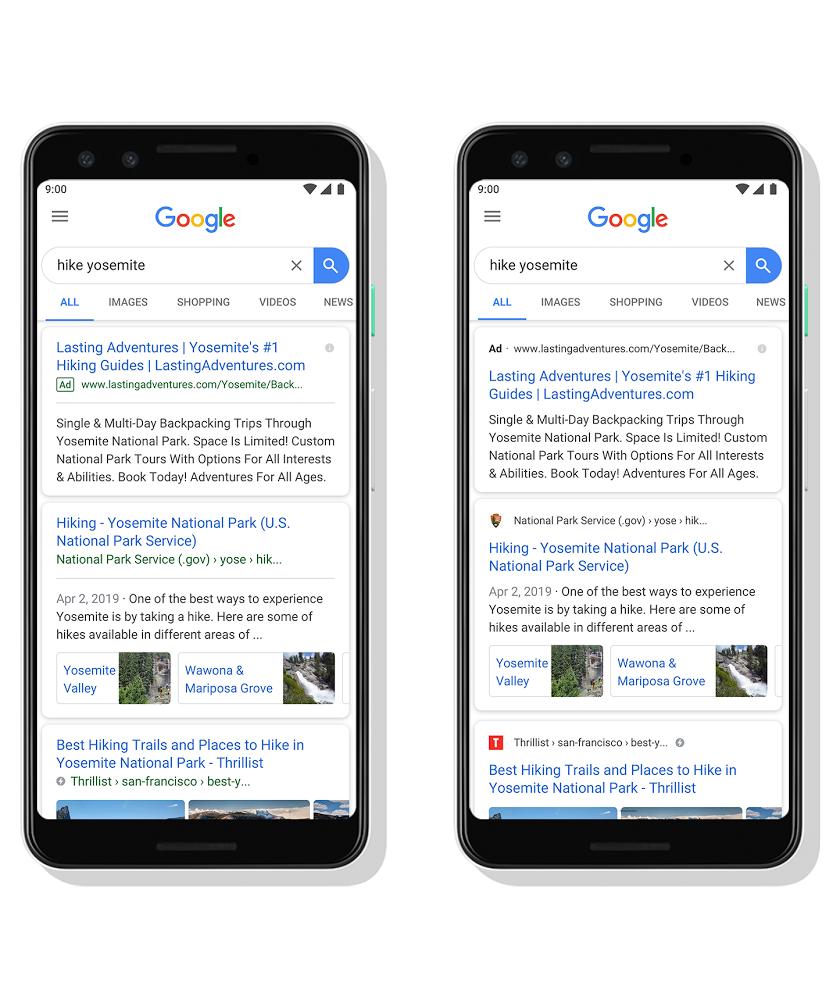 بحث قوقل على الهواتف يضيف أيقونة واسم الموقع في نتائج البحث