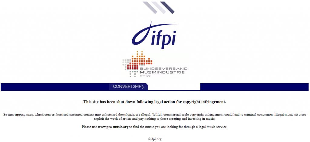 إغلاق موقع Convert2MP3 لانتهاك حقوق الملكية الفكرية يوتيوب