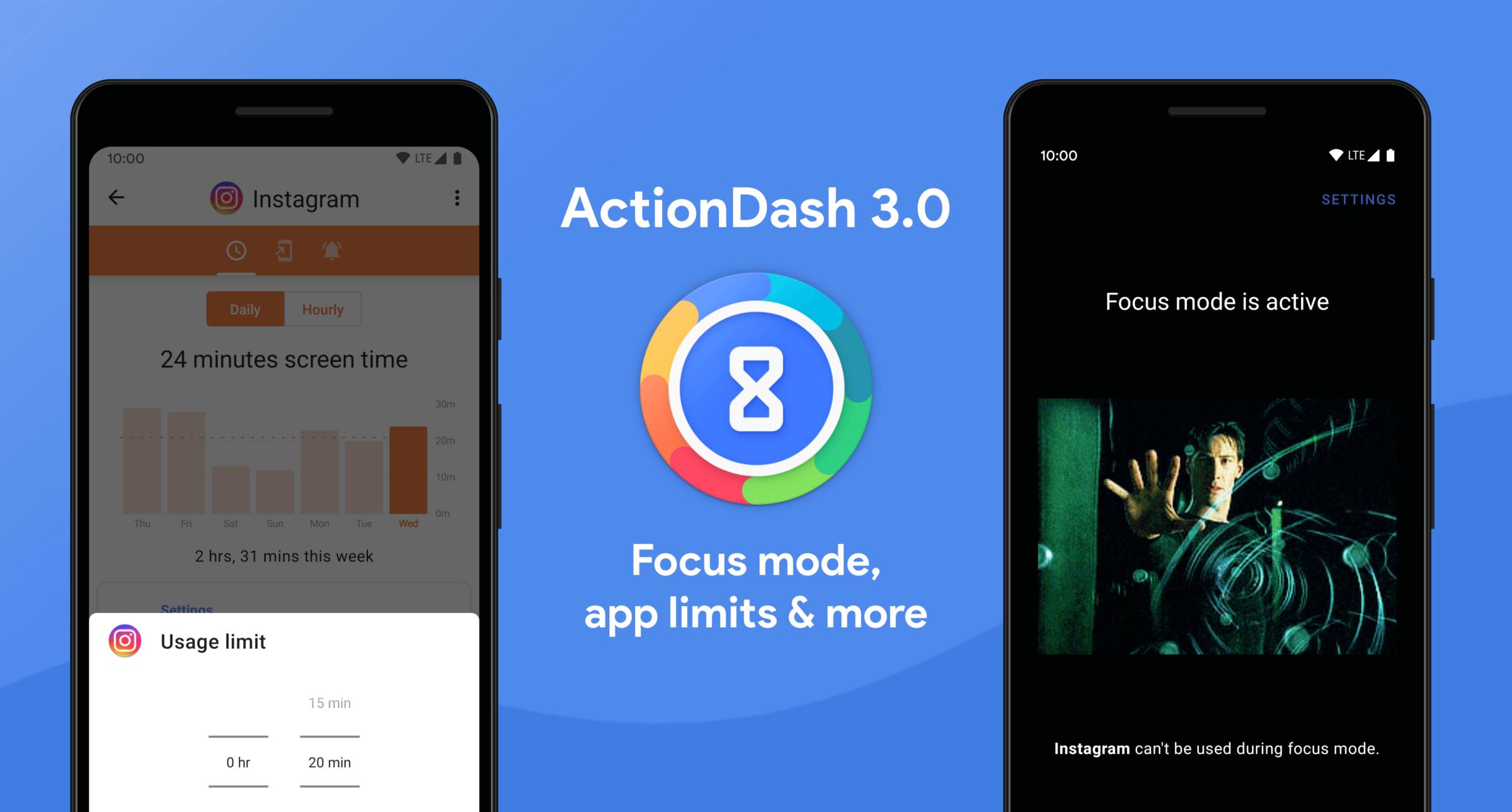 في تحديثه الأخير يتفوّق تطبيق ActionDash على أدوات العناية الرقمية من قوقل