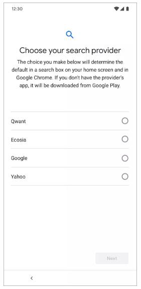 جوجل ستتيح اختيار محرك البحث الافتراضي في أندرويد عند أول تشغيل