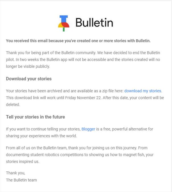 جوجل تُعلن عن إيقاف خدمة الأخبار الجماعية Bulletin في أندرويد
