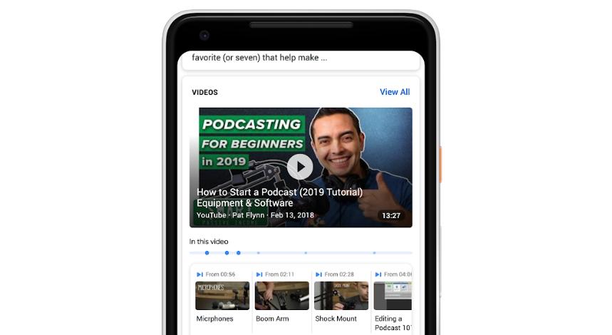 جوجل توفر ميزة البحث في الفيديوهات عبر الفهرسة الزمنية للمحتوى