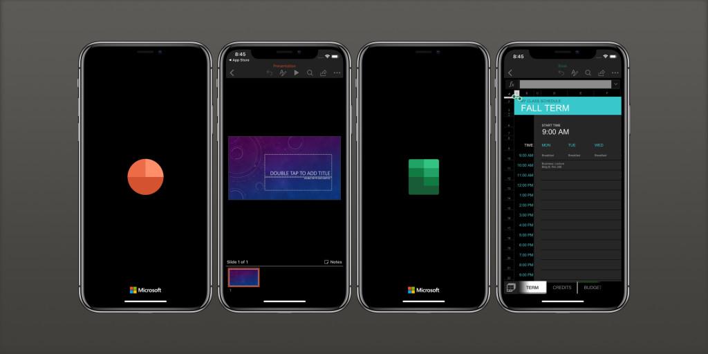 كلٍ من تطبيق وورد وإكسل وباوربونت وون نوت يدعمون الوضع المظلم في iOS 13