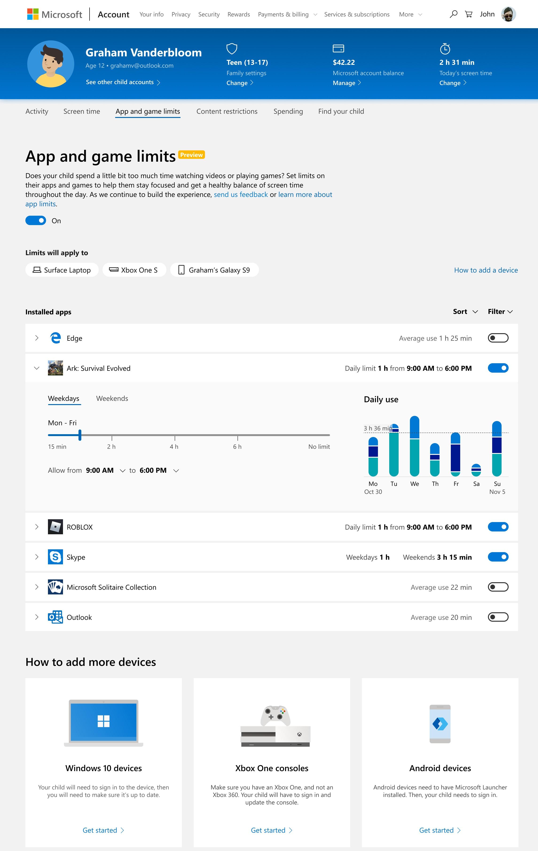 مايكروسوفت تُقدّم ميزة وضع حدود زمنية لكل تطبيق في خدمتها للمراقبة الأبوية