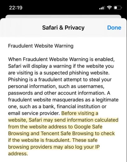 آبل ترسل بيانات متصفحي سفاري إلى شركة Tencent الصينية