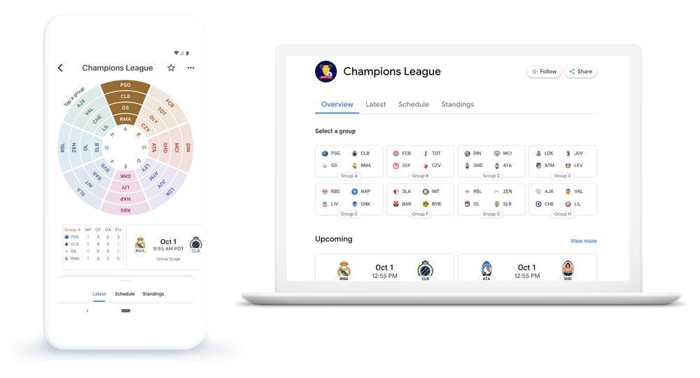 جوجل تجعل من متابعة دوري أبطال أوروبا لكرة القدم أسهل