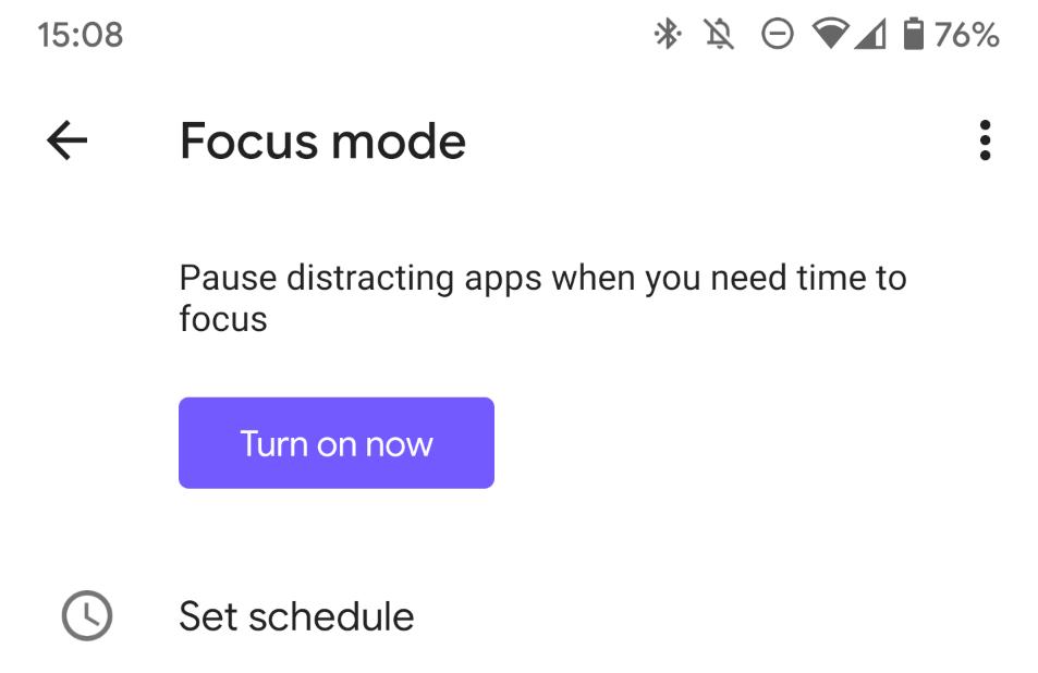 يسمح لك تطبيق الرفاهية الرقمية جدولة أو أخذ راحة من وضع التركيز