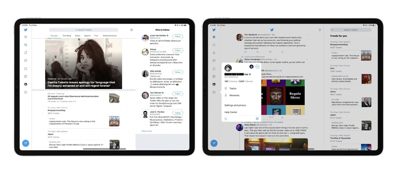 يحصل تطبيق تويتر على آيباد على إعادة تصميم جديدة