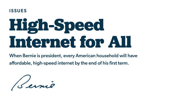 مرشح الرئاسة الأمريكية بيرني ساندرز يكشف عن خطته لإتاحة الانترنت السريع للجميع