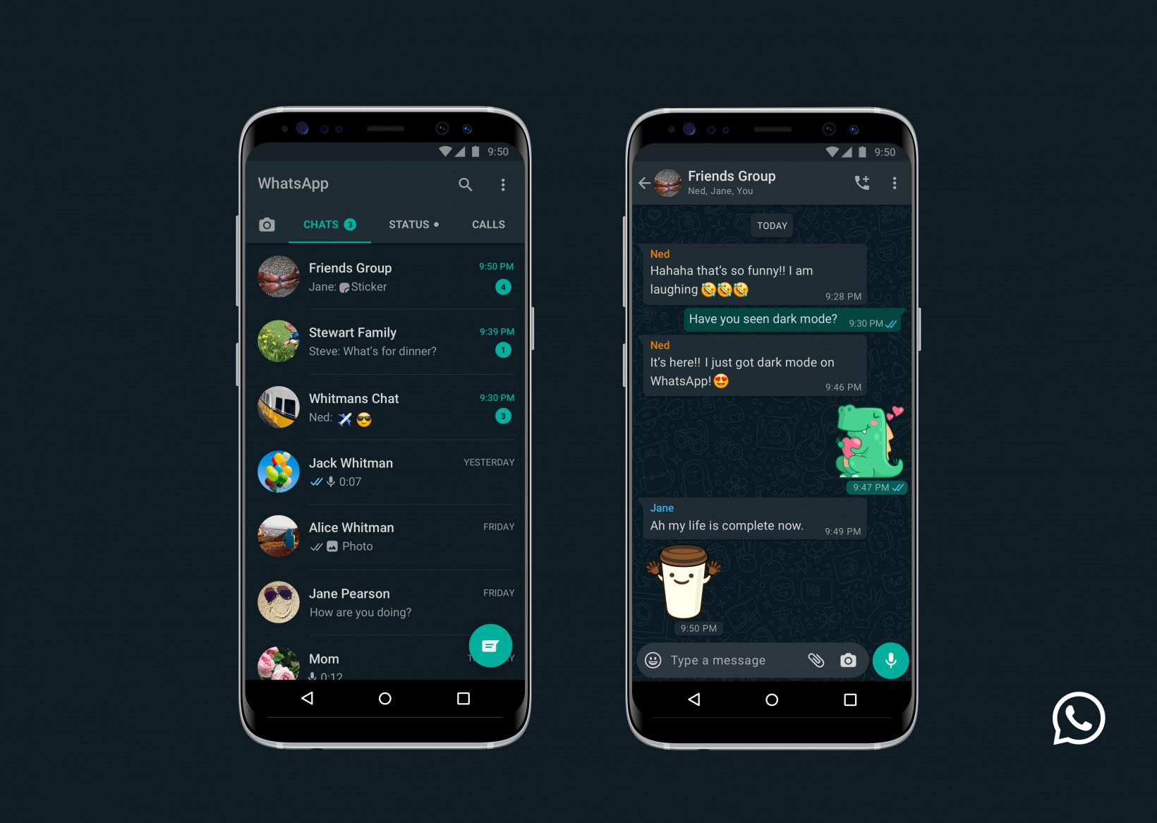 رسميًا تطبيق واتساب يدعم الوضع المظلم لجميع المستخدمين