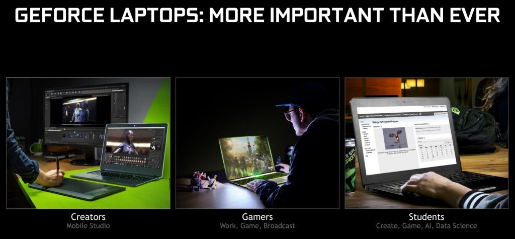 اعمل، العب، أنشئ باستخدام +100 من أجهزة الحواسيب المحمولة الجديدة المدعومة بـ NVIDIA GeForce