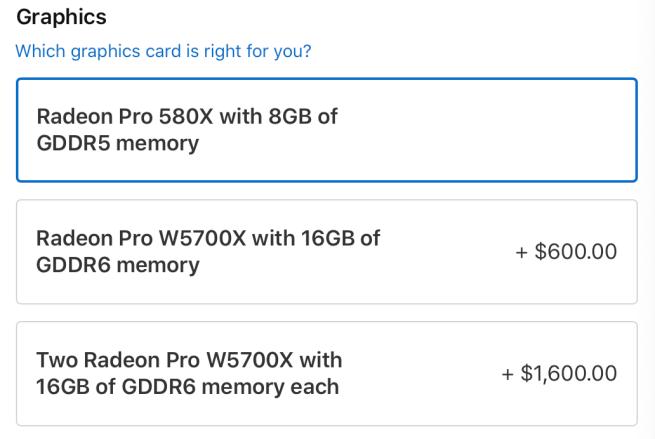 آبل توفر خياراً إضافياً لتدعيم أجهزة ماك برو بمعالج رسومات Radeon Pro W5700X