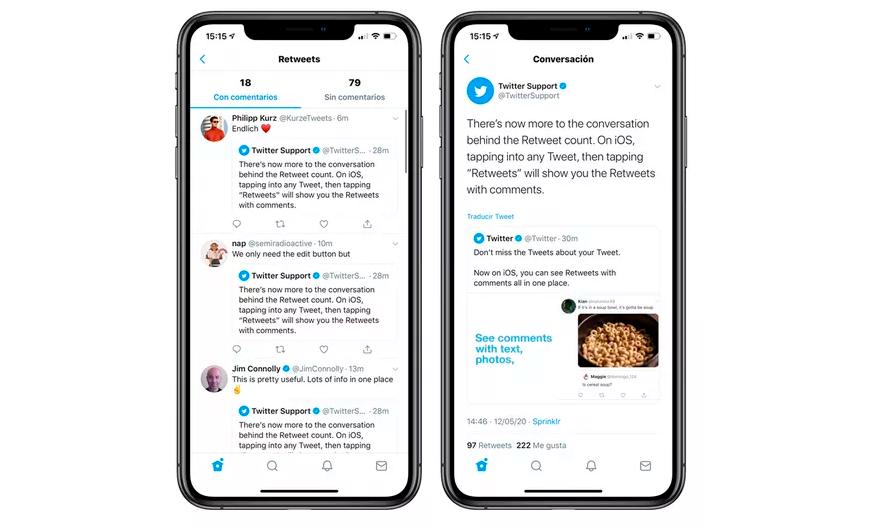يدعم تطبيق تويتر على iOS رؤية إعادة التغريد مع التعليقات في مكان واحد