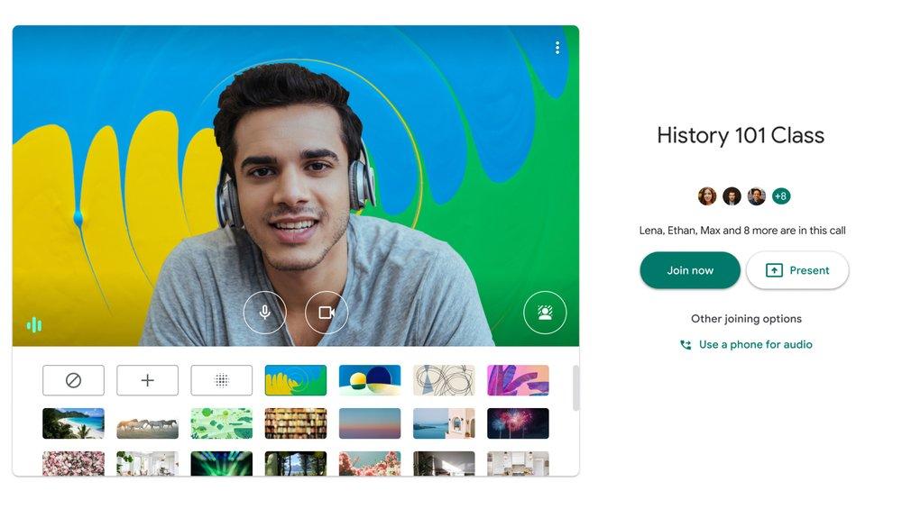 غوغل تتيح إضافة خلفية افتراضية لخدمة محادثات الفيديو Meet