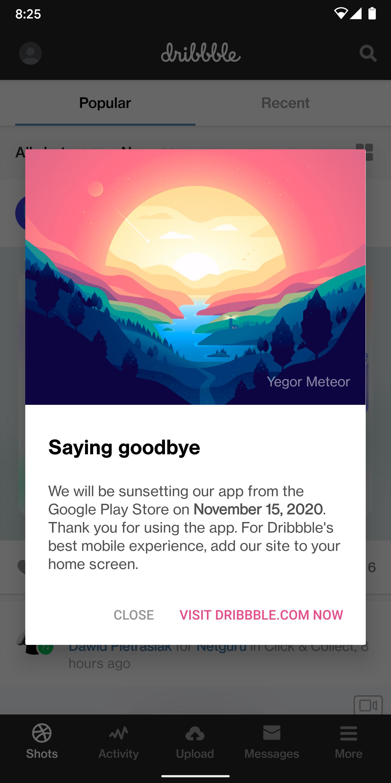 Dribbble تقول وداعًا لتطبيقها على أندرويد و iOS