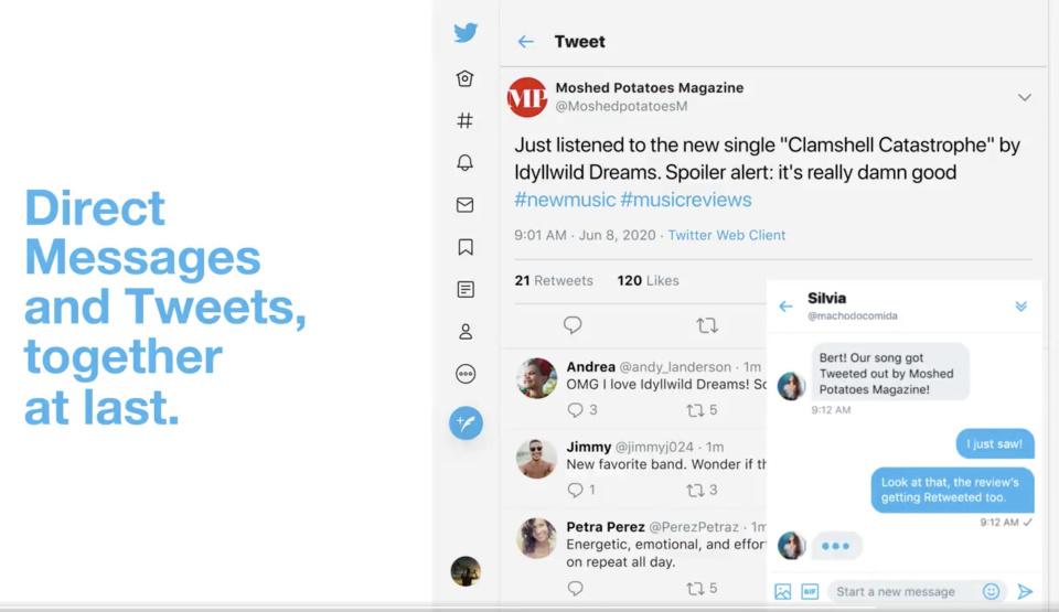 تويتر تظهر الرسائل الخاصة في موقعها على طريقة فيس بوك