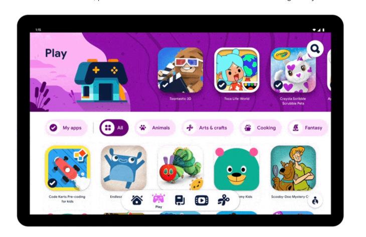 """جوجل تطلق """"مساحة الأطفال"""" Kids Space على لوحيات أندرويد"""