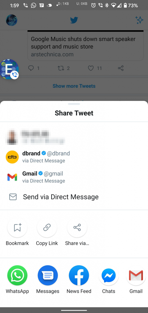 Twitter's custom share list makes its way to Android