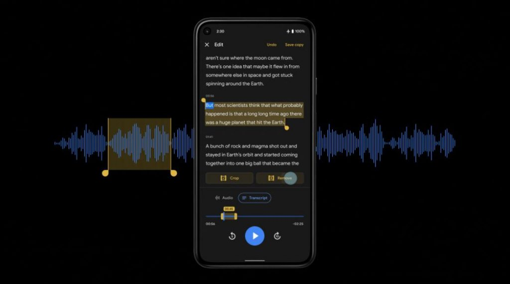 The Google Recorder application on Pixel phones now enables audio editing