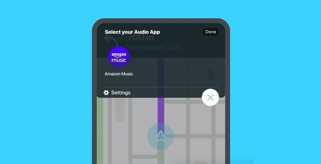 The Amazon Music service now integrates with the Waze mobility service