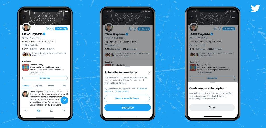 تويتر تضيف أيقونة الاشتراك في نشرات Revue الإخبارية داخل الصفحات الشخصية