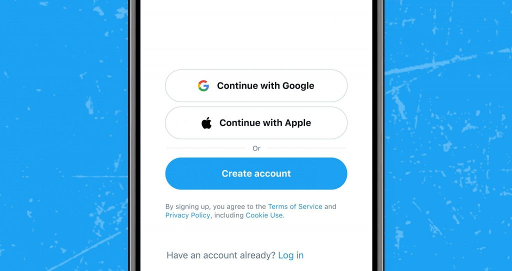 تويتر تضيف خيار التسجيل في تطبيقاتها باستخدام حساب جوجل أو آبل