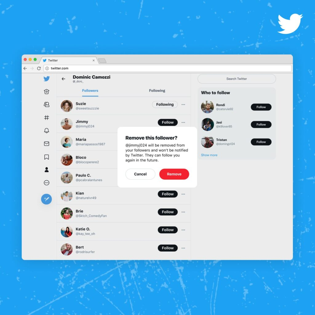 تويتر تعمل على خاصية تتيح حذف أي متابع دون حظره